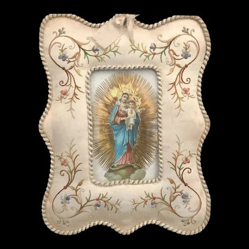 Satin Embroidered Madonna and Child Devotional