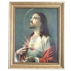 Sacred Heart of Jesus Lithograph Last Rites Set