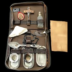Portable Last Rites Set in Leather Case