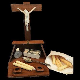 Vintage Home Altar Crucifix with Last Rites Set