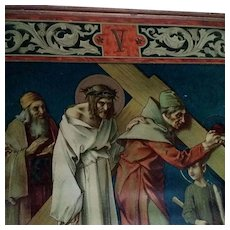"Antique Fifth Station of the Cross: ""The Cyrenian Helps Jesus to Carry His Cross"""