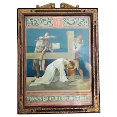 """Antique Seventh Station of the Cross: """"Jesus Falls for the Second Time"""""""