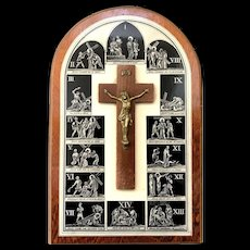 French Plaque with Crucifix and Stations of the Cross