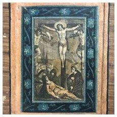 Antique Italian Stations of the Cross Set, Hand Colored Engravings, 1700s