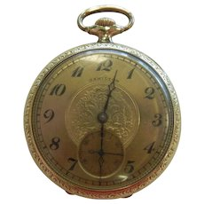 Vintage Hamilton Gold-Tone 17 Jewels Pocket Watch - Size: 16
