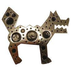 Vintage Mexico Sterling Silver Brooch - Steampunk Modernist Dog