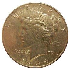 Fine Silver Peace Dollar Coin  - 1934S