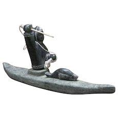 Vintage Signed Alaskan Eskimo Kayak Sculpture