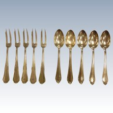 Fine European 800 Silver Oyster Forks/Spoons - Set of 10