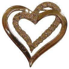 Fine 10K White Gold Diamond Heart Pendant