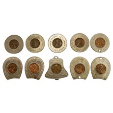 Set of 10 Vintage Souvenir Lucky Pennies