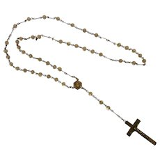 Vintage Sterling Silver Rosary Necklace w/ Clear Glass Beads