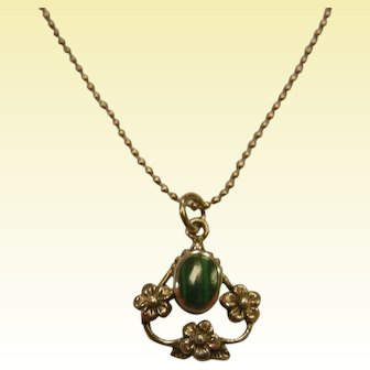 Fine Sterling Silver Pendant Necklace w/ Flowers & Natural Malachite