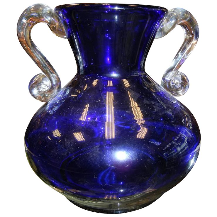 Vintage Wanda Hand Made In Poland Cobalt Blue Vase Sold Ruby Lane