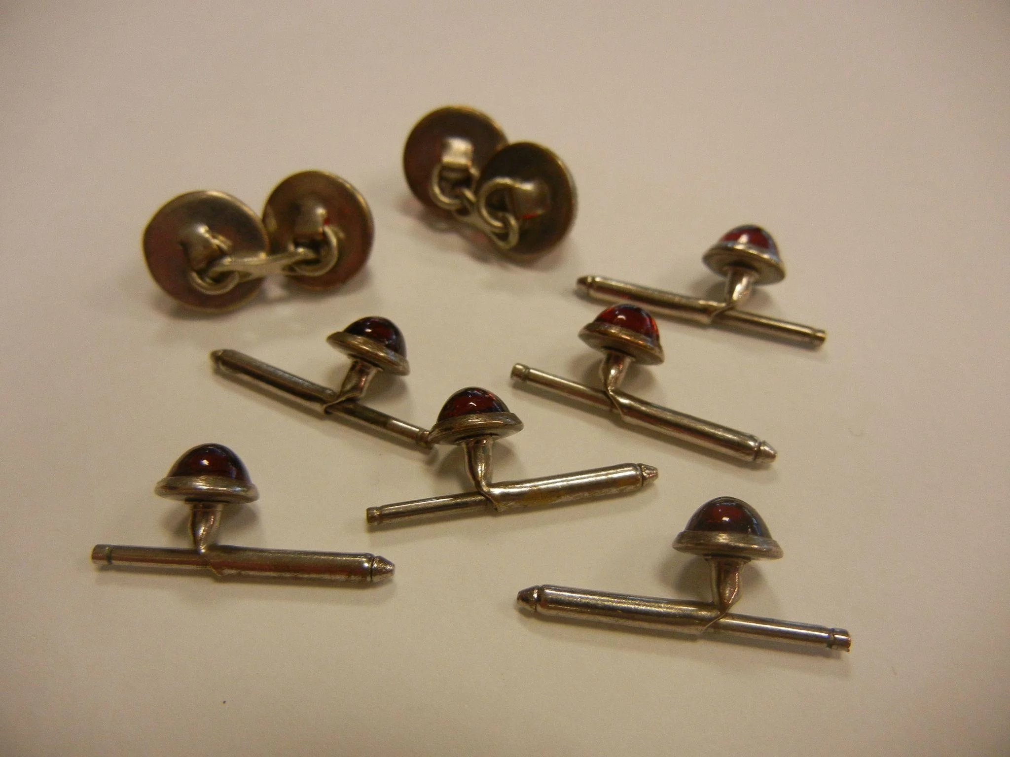 Vintage red glass silver tone cuff links tuxedo shirt for Stud sets tuxedo shirts