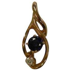 Fine 14K Gold Pendent w/ Diamond & Sapphire