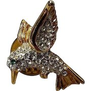 Vintage Rhinestone Humming Bird Lapel Pin.
