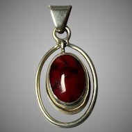Lovely Deep Red Stone Pendant marked 925, Mexico