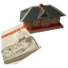 Vintage Tin Model Train Station, MAR Marx Toys