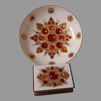 Unusual Mid Century Austrian Enameled and Jeweled Match Box and Ashtray