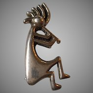 Sterling Navajo Kokopelli Brooch or Pendant, Signed