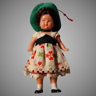 Vintage German Doll House Doll, Original Costume