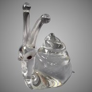 Blown Glass Crystal Snail, Marked
