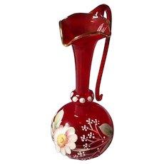 Miniature Vintage Red Bimini Glass Ewer, Vase