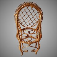 All Metal Filigree Doll House Chair