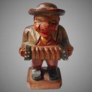 Hand Carve Accordion Player Figure