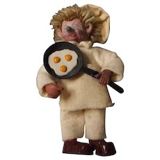 """Vintage Miniature """"Mecki"""" Chef with Frying Pan, Steiff"""