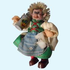 "Vintage Miniature ""Micki"" Waitress with Stein, Steiff"