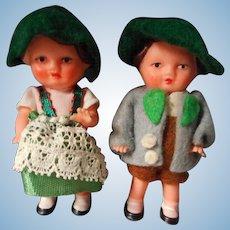 Vintage Set of Doll House Dolls in Original Costumes