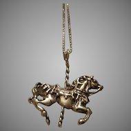 Vintage Sterling Carousel Horse Pendant