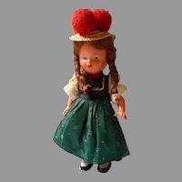 German Wind Up Doll in Original Costume