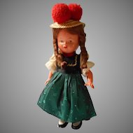 German Wind Up Doll in Original Costume
