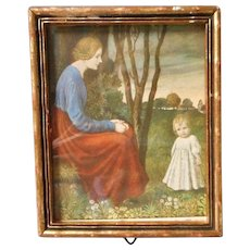 Old Doll House,Vintage Framed Miniature Print of Mother and Child