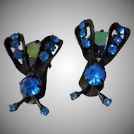 Vintage Weiss Blue Clip Insect Earrings