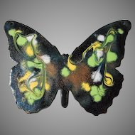 Large Vintage  Enameled Butterfly Pendant