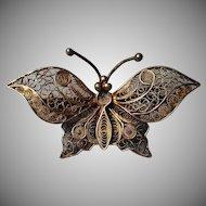 Vintage 800 Silver Filigree Butterfly Brooch
