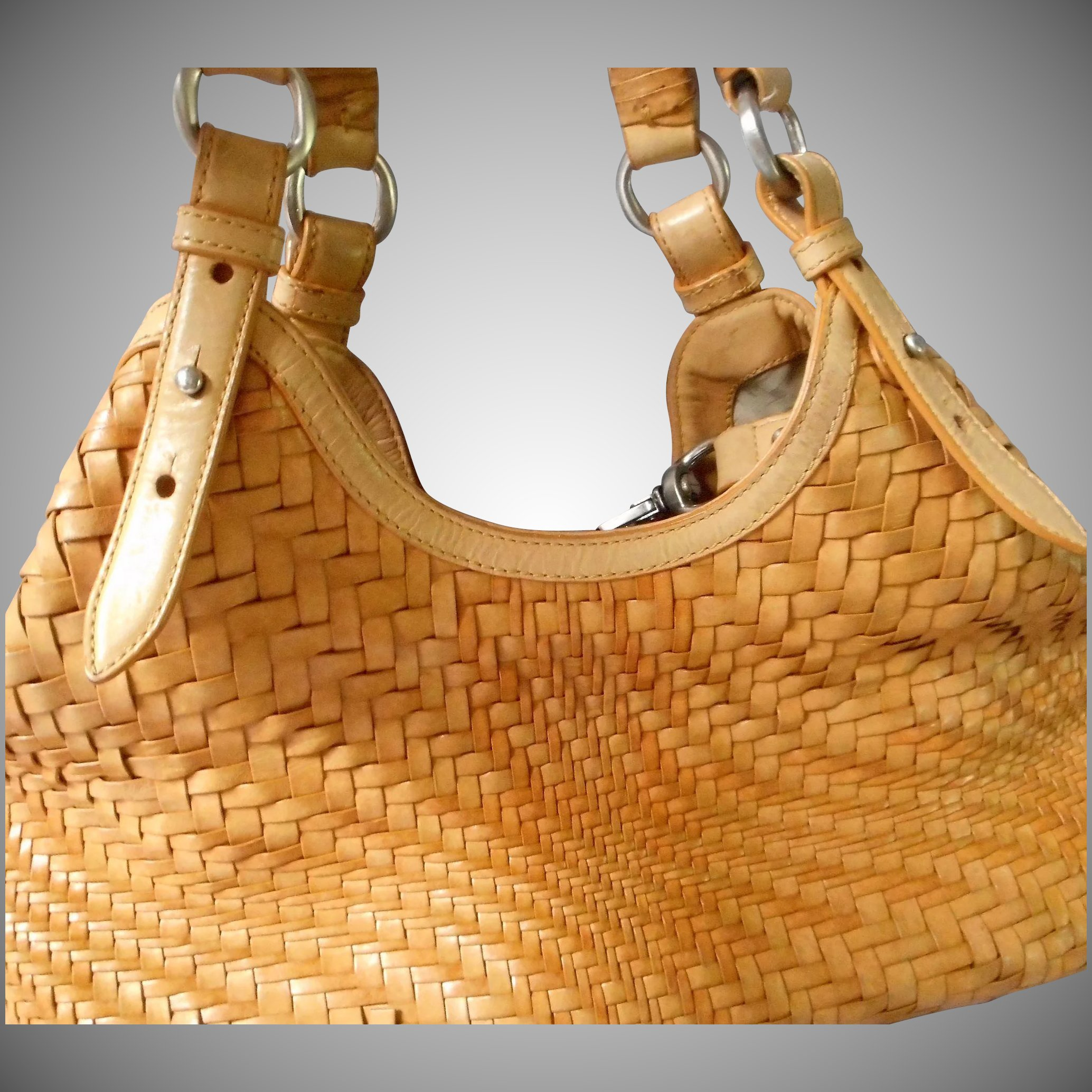 Vintage Woven Leather Handbag By Cole Haan Click To Expand