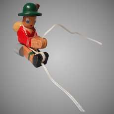 Old Doll, Vintage German Wooden Toy Mountain Climber
