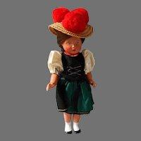 Vintage German Celluloid Doll in Original Costume