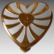 Vintage Heart Shaped Powder Compact