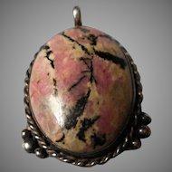 Vintage Sterling Rhodonite Pendant