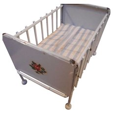 Vintage Mid Century All Metal Crib for Doll House