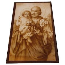 Vintage Religious Picture Mounted on Glass
