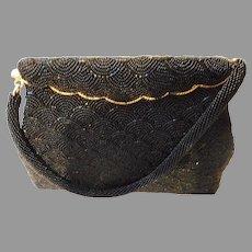 Vintage Black Beaded Purse and Handle