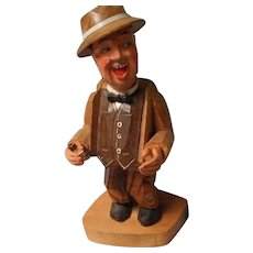 Unusual Vintage Carved Wooden Man with Pipe, Anri