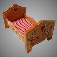 Vintage  Wooden Doll House Bed, Germany